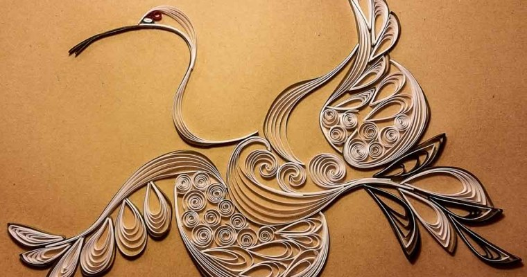 Quilled Stylistic White Crane