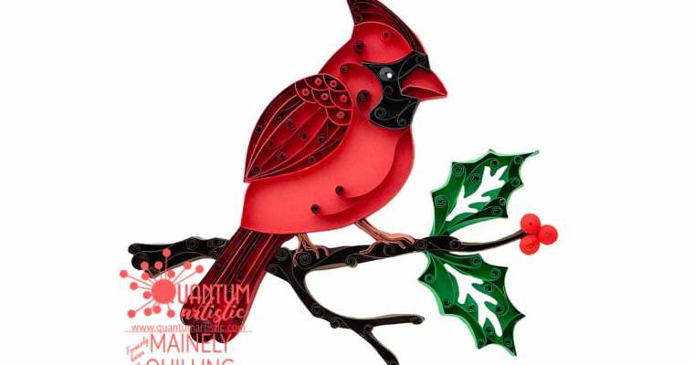 Quilled Cardinal With Holly