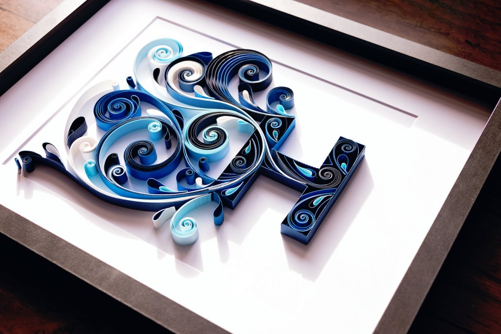 Quilled Letter H Monogram | Extreme Blue Scrollwork