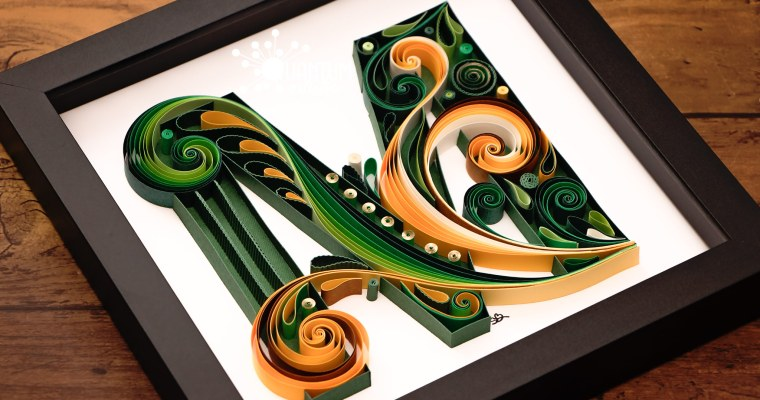 Green & Gold Quilled Letter M Monogram