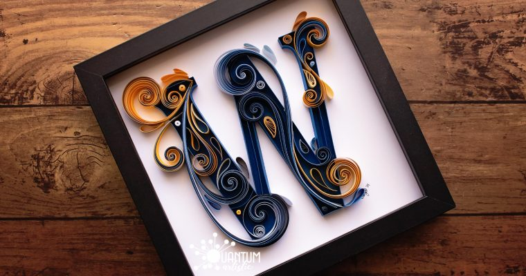 Quilled Letter W Monogram | Blue & Gold