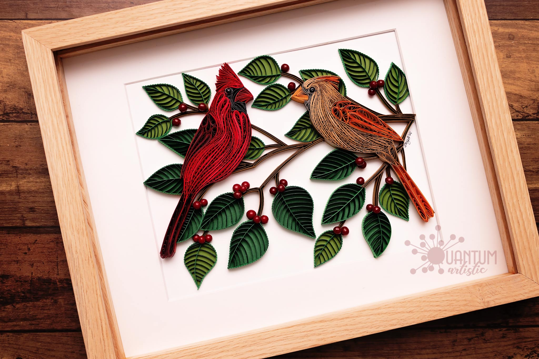Pair of Cardinals in Berry Bush