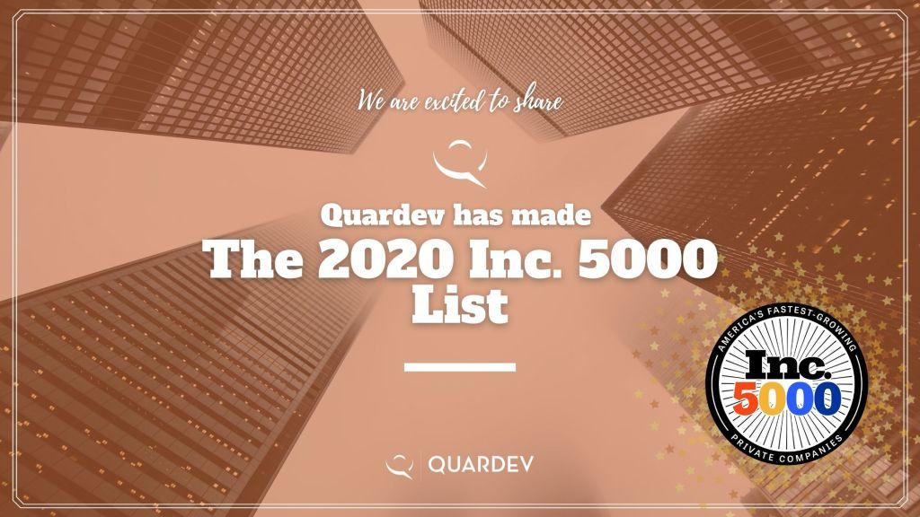 Quardev made it to 2020 Inc. 5000 List