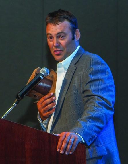 Casey Branquinho gave a heartfelt speech about Bobby Ingersoll. • Photo by John O'Hara