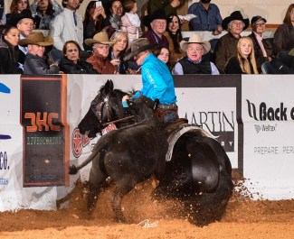 Clay Volmer stopping cow on fence