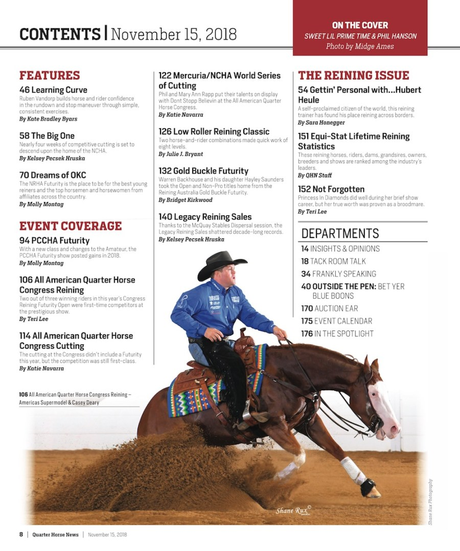 Quarter Horse News November 15 2018 Table of Contents