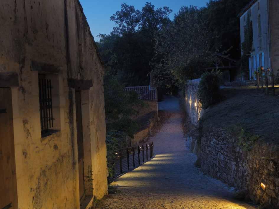 vue de nuit d'un sentier