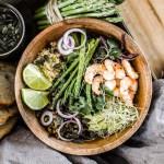 Bowl jeunes asperges crevettes- Magali Ancenay