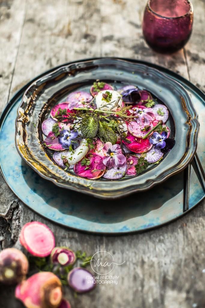 radis de couleurs Carpacccio St Jacques - Magali ANCENAY Photographe Culinaire