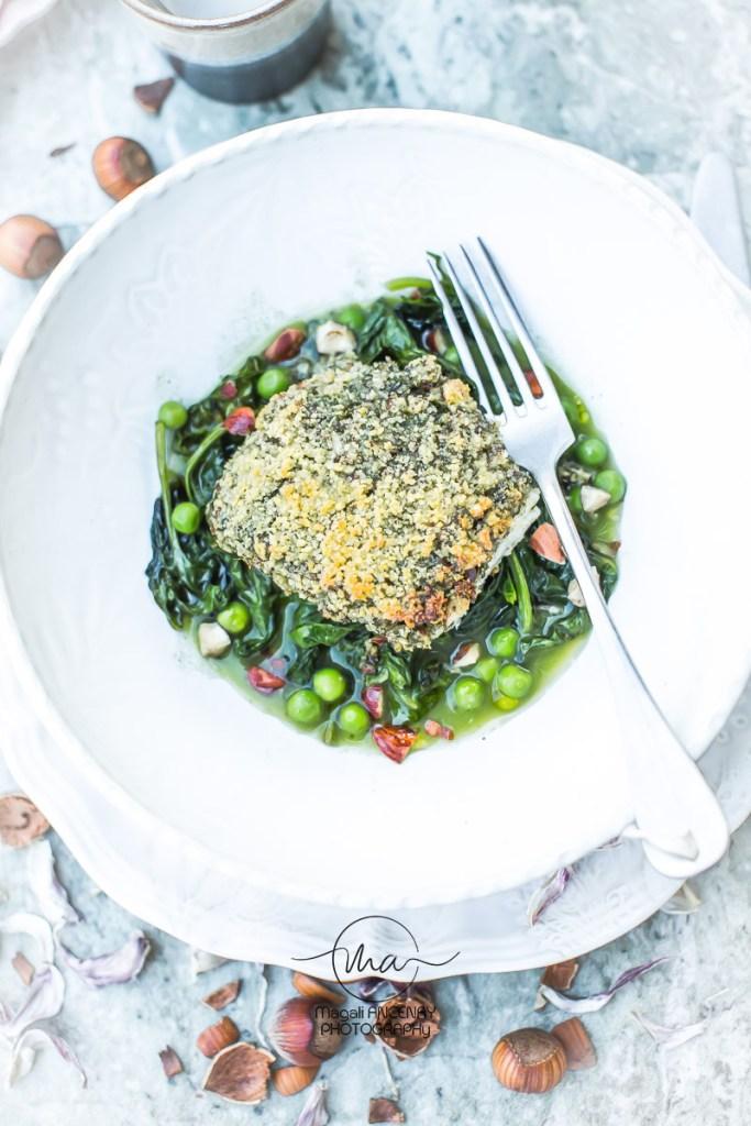Cabillaud croûte noisettes et ails frais - Magali ANCENAY Photographe Culinaire