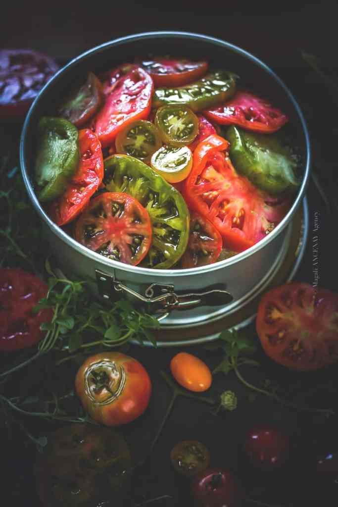 Terminer par une couche de tomates