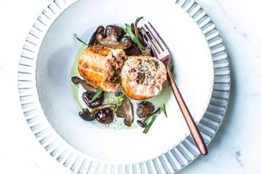 Ballotine de saumon,  champignons et marrons