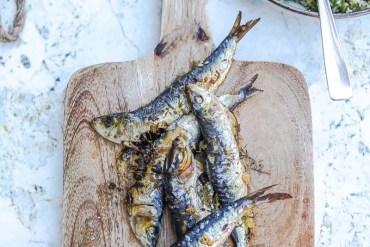 Sardines marinées, grillées au four