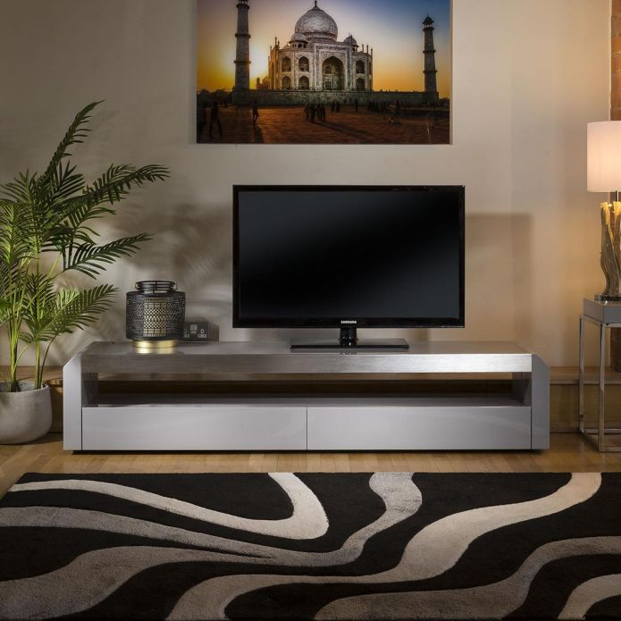modern grey tv cabinet grey gloss 200 cm unit stainless with glass top