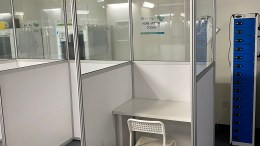 Social distancing cubicles get Lendlease Triton Square Welfare Facilities Open