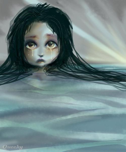 Un mar de lagrimas  an anime Speedpaint drawing by Darkcla  Queeky  draw  paint