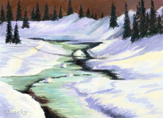Winter Landscape A Landscape Speedpaint Drawing By