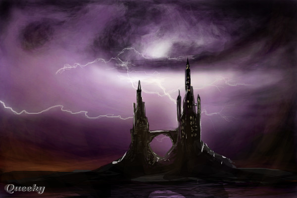 Purple lightning castle  a landscape Speedpaint drawing by Raz  Queeky  draw  paint