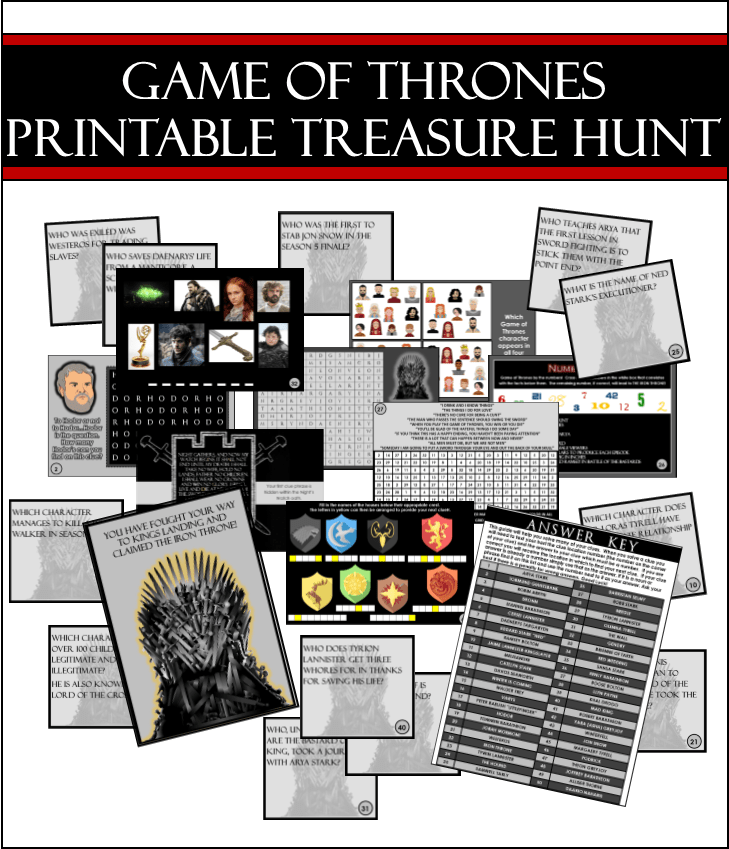 Printable Game Of Thrones Trivia Treasure Hunt