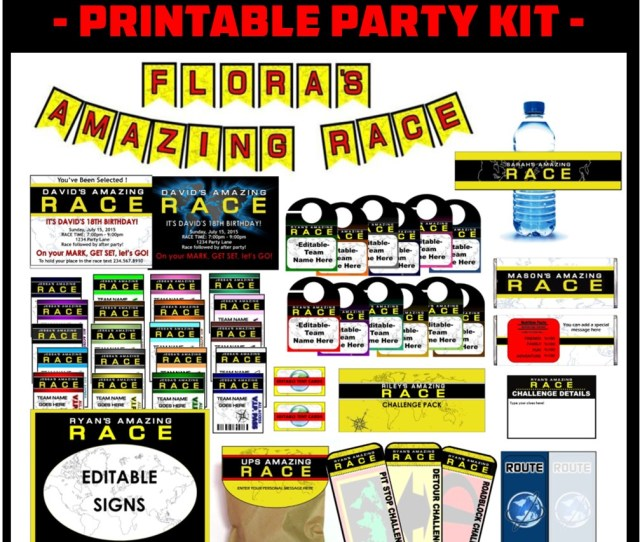 Personalized Amazing Race Party Printables
