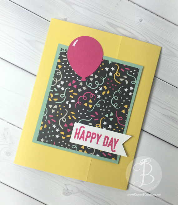 Stampin' Up! Saleabration Perfect Pairing and It's My Party DSP Fancy Fold Birthday Card with Balloon punch