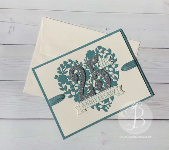 25th Anniversary card made with Stampin' Up! Bloomin' Heart and Large Number dies.
