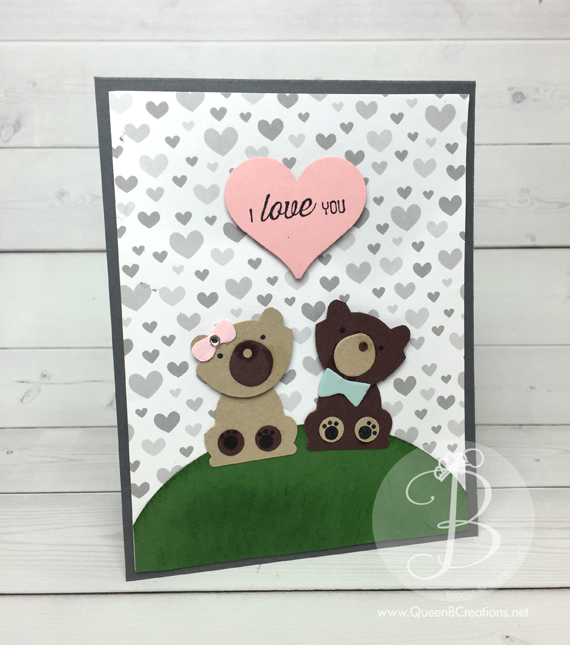 Stampin' Up! Fox Builder Punch was made to make these adorable teddy bears in love by Queen B Creations