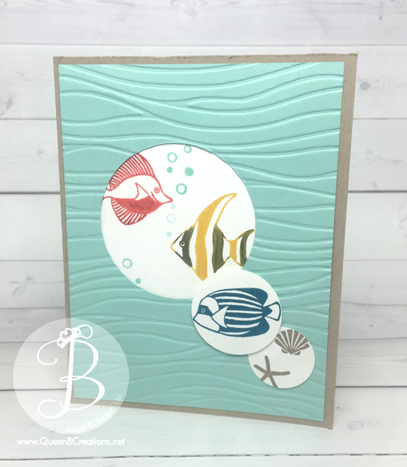 Pals Paper Arts sketch challenge Stampin' Up! Seaside Shore Fish card by QueenBCreations