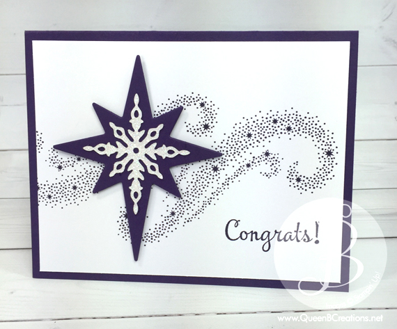 Congratulations card made using Stampin' Up! Star of Light bundle in Elegant Eggplant by Queen B Creations