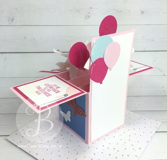 Custom card in a box order birthday gymnastics from www.QueenBCreations.com