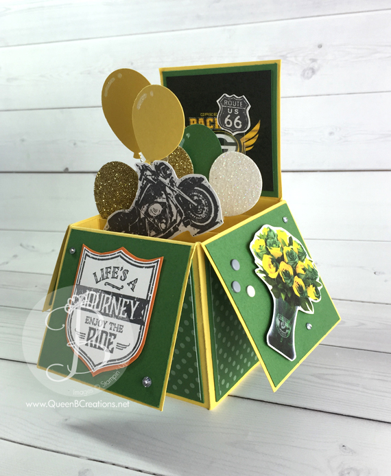 This packers birthday card in a box was made with Daffodil Delight and Garden Green card stock.