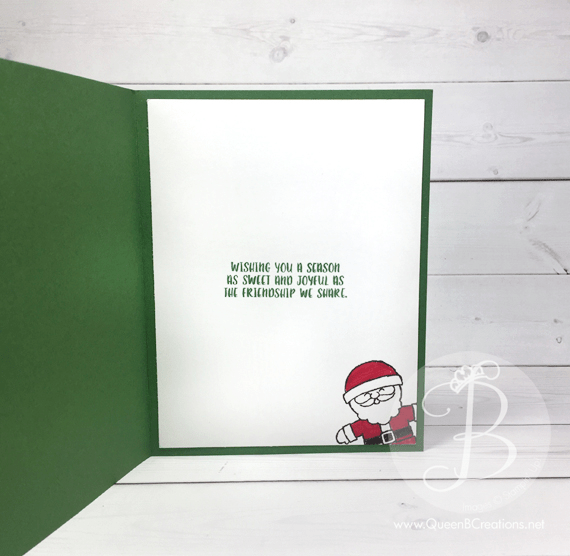 Hand stamped Christmas card made by Queen B Creations using Stampin' Up! Cookie Cutter Christmas Reindeer and Santa
