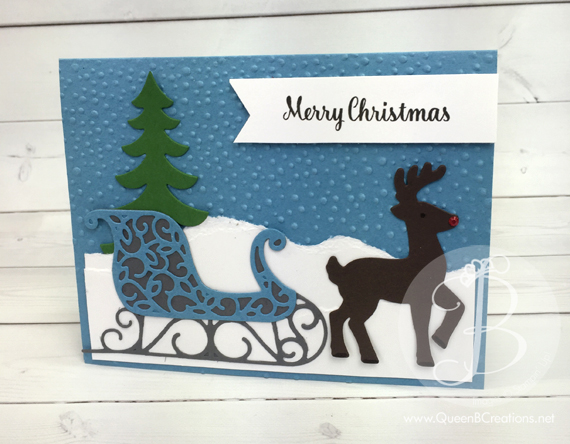 Stampin' Up! Santa's Sleigh Winter Wonderland christmas card made by Queen B Creations