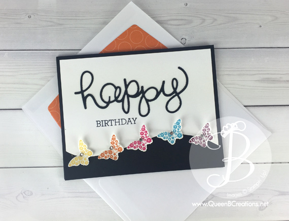 Stampin' Up! Happy Birthday card made with Papillon Potpourri and a rainbow of bitty butterflies Hello You thinlit dies by Queen B Creations