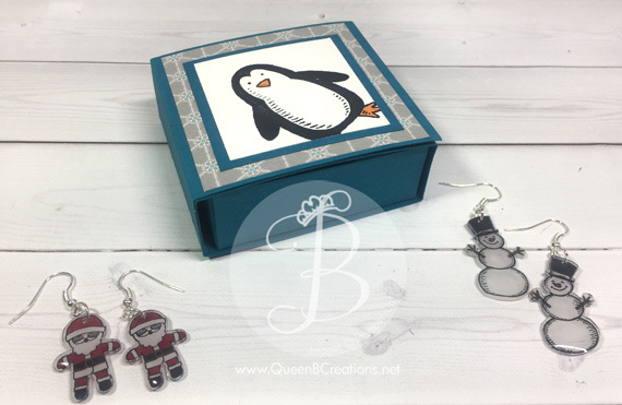 Shrinky Dink earrings made using Stampin' Up! Snow Place and Cookie Cutter Christmas in a small gift box by Queen B Creations