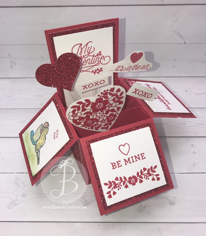 Stampin' Up! Bloomin' Love card in a box valentines day card for Pals Blog Hop made by Queen B Creations