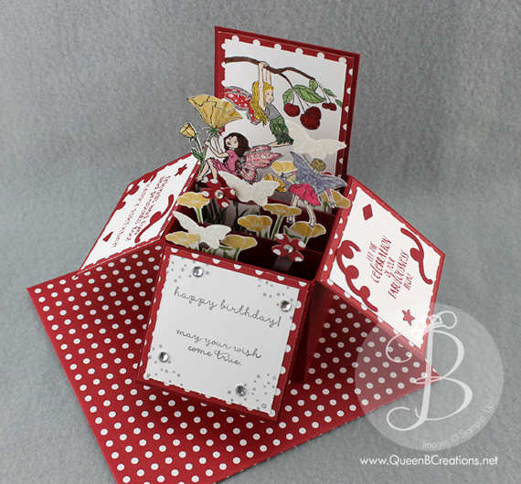 Stampin' Up! Fairy Celebration card in a box pop up explosion card by Queen B Creations