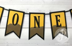 Stampin' Up! 1st birthday banner with construction theme by Queen B Creations