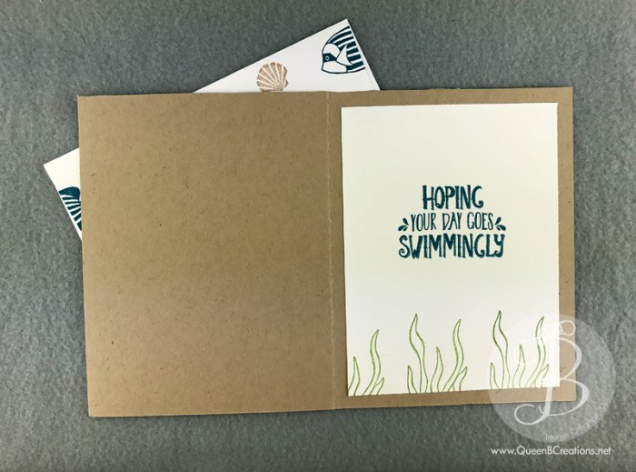 Stampin' Up! Seaside Shore card and envelope by Queen B Creations