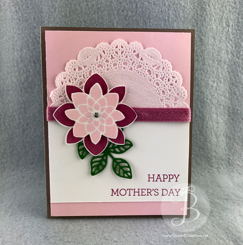 Stampin' Up! Crazy About You mothers day card with doily by Queen B Creations