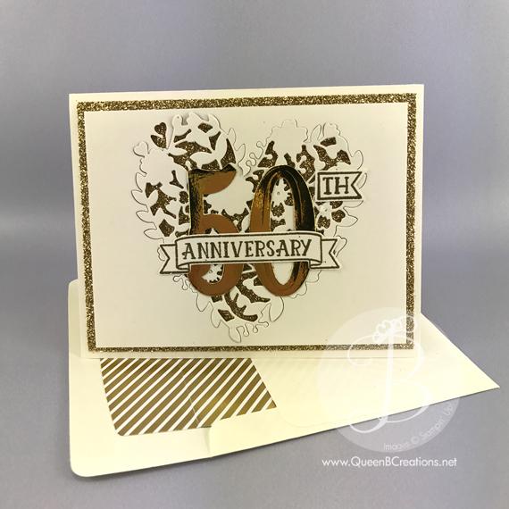 golden anniversary card  queen b creations