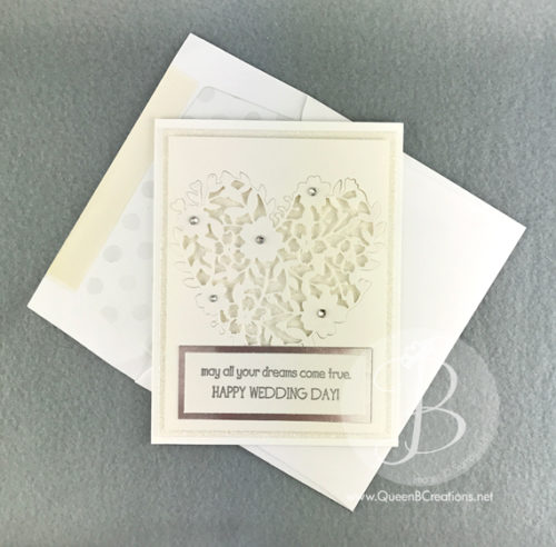 Stampin' Up! Bloomin' Heart White Wedding Card with Glimmer Paper by Queen B Creations