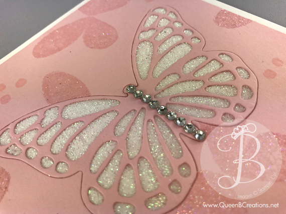 Stampin' Up! Watercolor Wings stamps set and butterfly thinlit dies are used to create this sparkle card by Queen B Creations for the Remarkable Inkbig Blog Hop