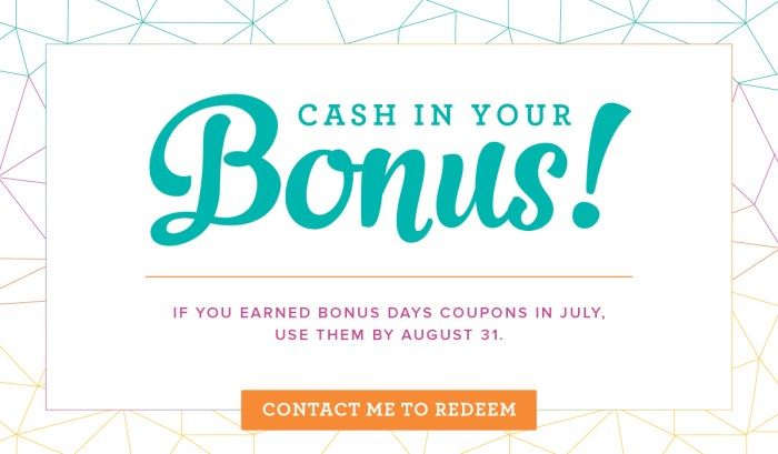 cash in your stampin' up bonus days coupons