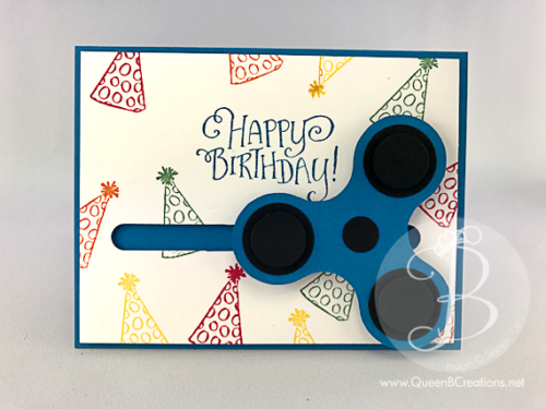 Stampin' Up! Better Together primary colors birthday card with a fidget spinner that actually moves. This spinner card was made by Queen B Creations.