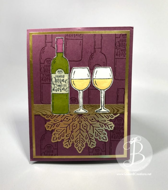 Twist and Pop fancy fold card using Stampin' Up! Half Full stamp set Christmas wine card by Queen B Creations