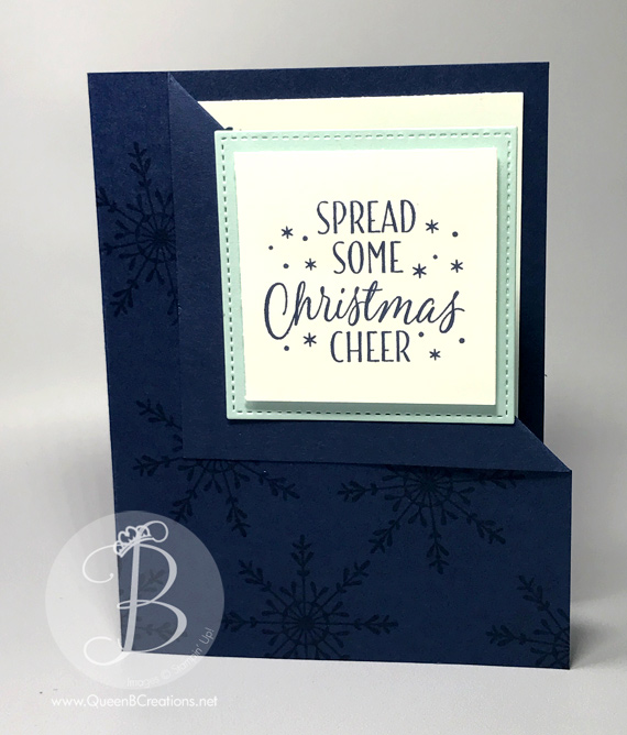 Corner fold hand stamped christmas card using stampin' up tin of tags stamp set by queen b creations