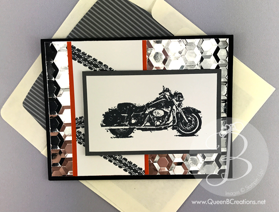 stampin Up! One Wild Ride Motorcycle Route 66 handmade card by Queen B Creations
