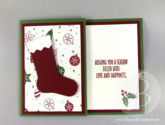 christmas stocking gift card holder stampin up handmade card by lisa ann bernard of queen - Christmas Card Closings