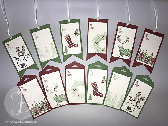 Stampin' Up! Christmas tags made by Queen B Creations Triple Banner Punch Scallop Tag Topper Punch